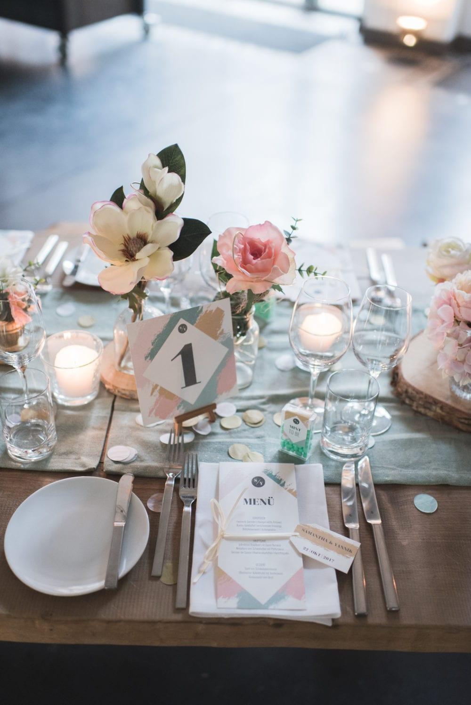 Brushstroke Hochzeit Tisch Deko