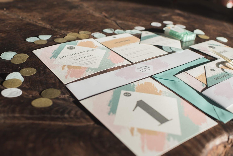 Brushstroke Hochzeit Papeterie Karten